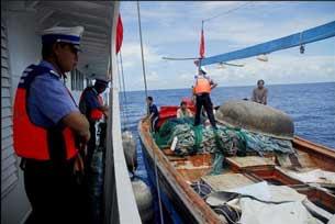 Công an biên phòng Trung Quốc bắt tàu đánh cá và ngư dân Việt Nam  hồi năm 2009.