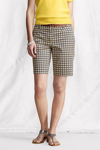 Women's Regular Fit 2 Pattern Stretch Chino Bermuda Shorts - Khaki Print, 8