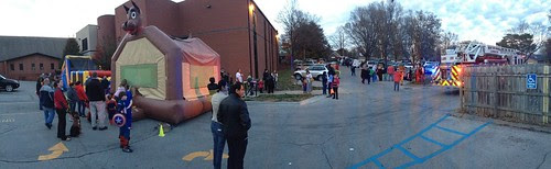 obstacle course, bounce house, fire truck and trunk or treat