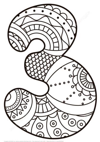 Disegno Di Numero Zentangle 3 Da Colorare Disegni Da Colorare E