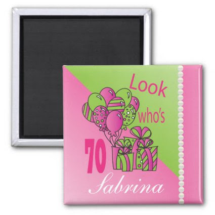 Look Who's 70 | 70th Birthday | Personalize 2 Inch Square Magnet