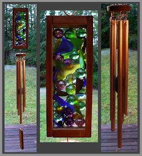 wind chime, marbles, beach glass, copper, Tim Kline