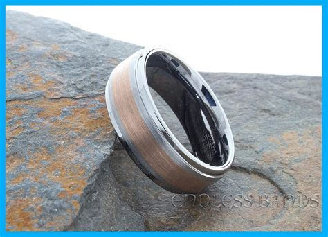 Rose Gold Inlay Tungsten Wedding Band Ring Two Tone