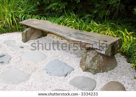 Wooden Bench In Japanese Garden Stock Photo 3334233 : Shutterstock