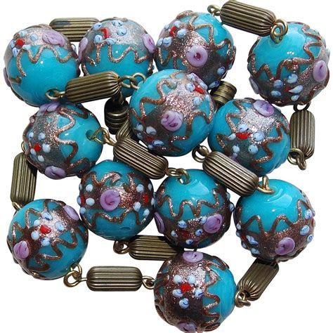 Venetian Italian Glass Wedding Cake Bead Vintage Necklace
