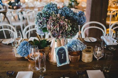 Beautiful Shades of blue Hydrangea wedding centerpieces in