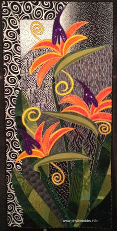 Fantasy in Paradise was created by Laura Steiniger, Tucson, Arizona to depict fantastical birds-of-paradise flowers. I love birds-of-paradise.  Photo by Phyllis Dobbs, 2013 Spring International Quilt Market