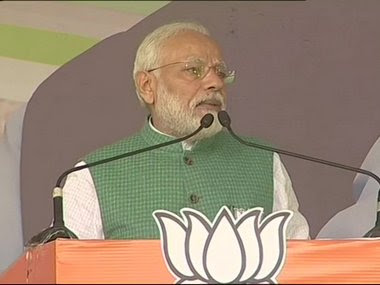 Narendra Modi speaking at a rally in Jharkhand'd Dumka. Twitter/@ANI