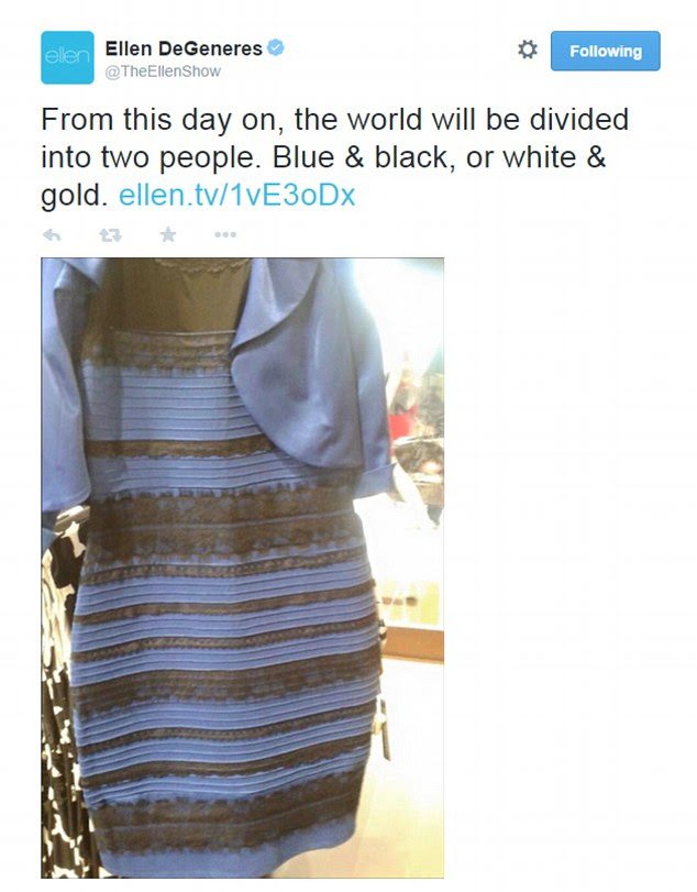 Great divide: The Ellen Show suggested on Twitter that people will be defined by their stance on the dress