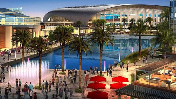 An artist's concept of the Los Angeles Rams' new arena, the City of Champions Stadium, in Inglewood.