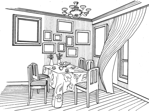 Dibujo De Comedor En Estilo Provenzal Para Colorear Dibujos Para