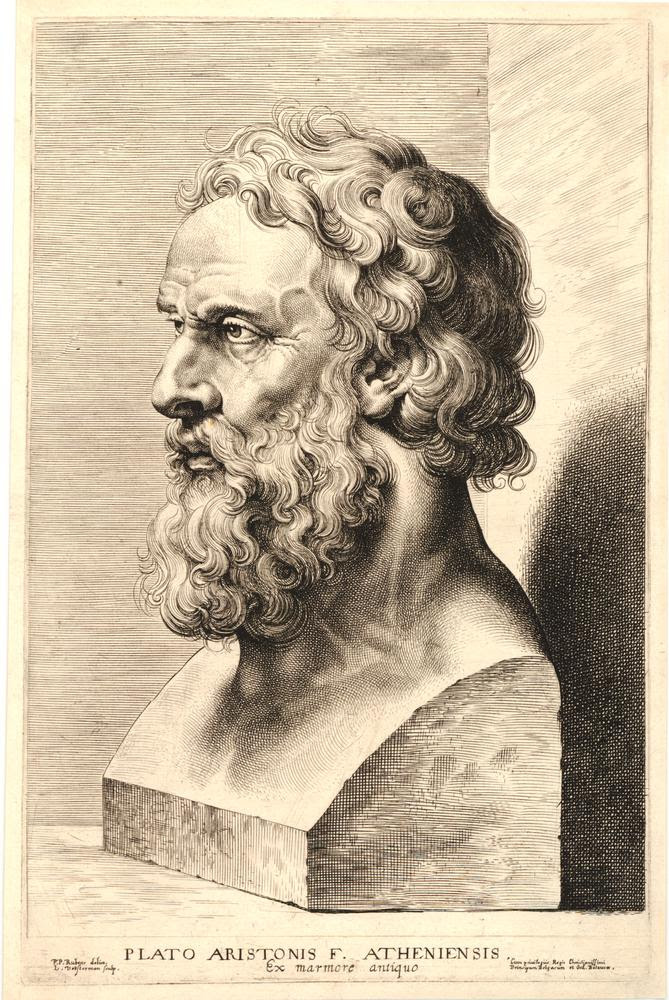 Herm statue of the Greek philosopher Epicure (wrongly titled Plato) with curly hair and beard, bust almost seen in profile to right; from a set of twelve plates showing antique busts after drawings by Rubens.  c.1638 Engraving
