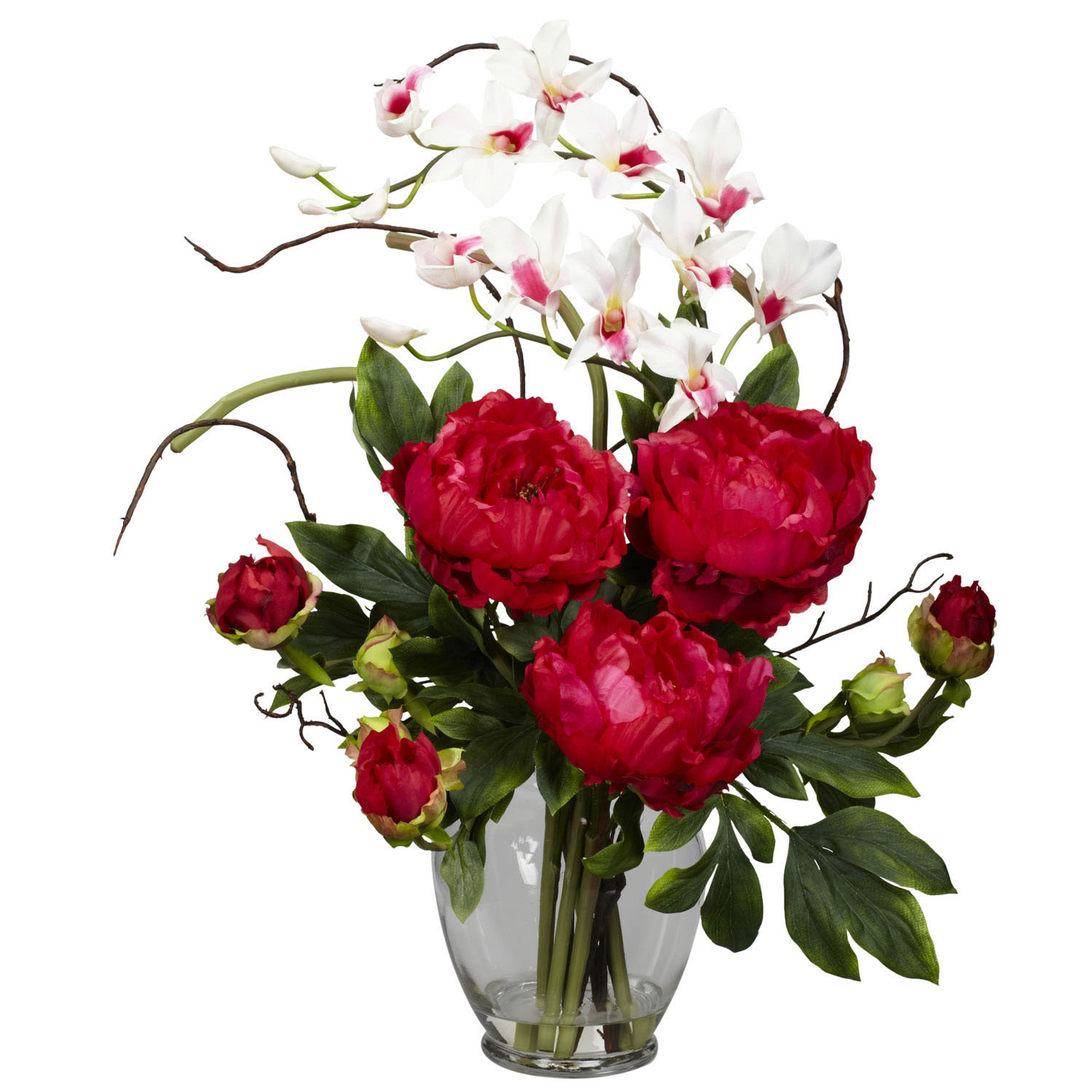 Peony and Orchid Silk Flower Arrangement  1175