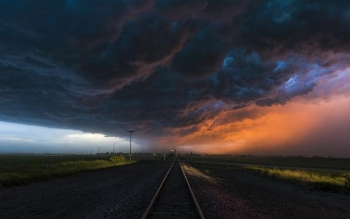 A storm is pictured in Lincoln Nebraska, US.
