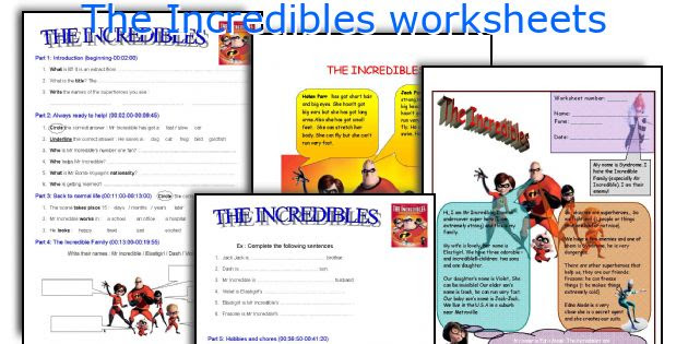 The Incredibles Worksheets