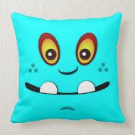Cute Hot Aqua Monster Face w/ an Underbite Pillow