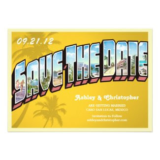Vintage Beach Destination Save The Date Postcard Personalized Announcements