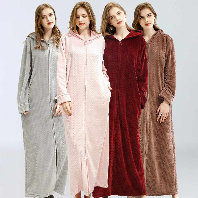 Recommended  2019 Women Winter Thick Warm Flannel Pajamas Long Robe Bathrobe Nightgown Ladies Bath Lingerie Hood