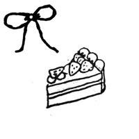 フリー素材壁紙アイコンモノクロの手描きのイチゴショートケーキの