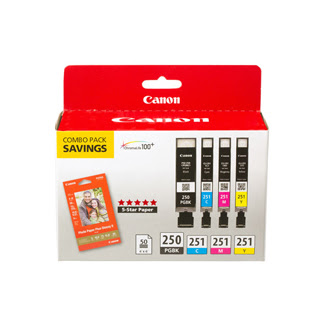 Canon Pgi 250cli 251pp 301 Ink Cartridge Combo With 4x6 Photo