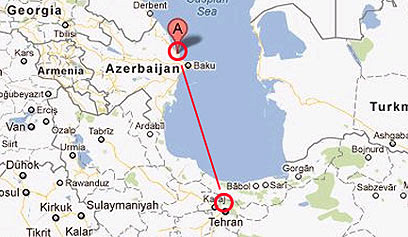 המרחק בין בסיס סיטאלקיי לאיראן (צילום: Google)