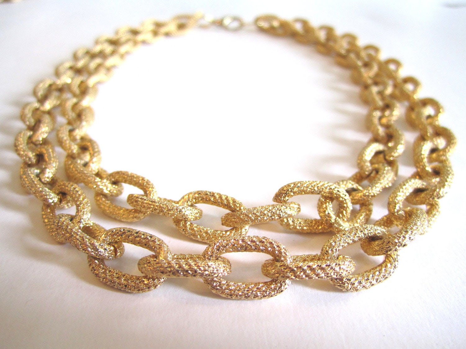 GOLD Faux PAVE Textured Double Chain Necklace