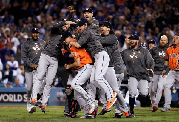 The Houston Astros celebrate after defeating the Los Angeles Dodgers, 5-1, in Game 7 of the World Series...on November 1, 2017.