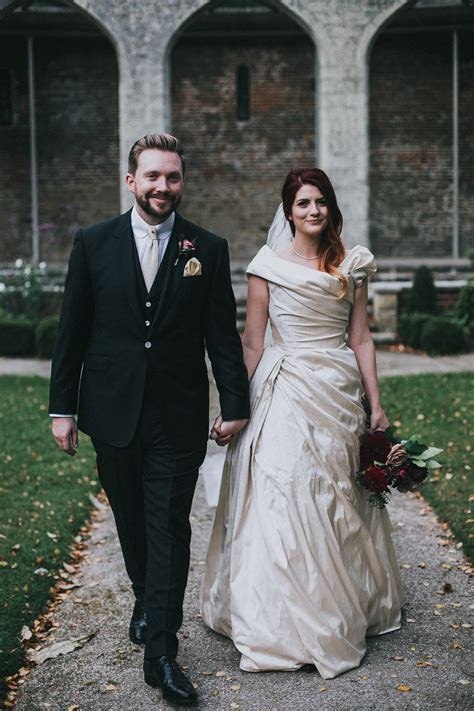 A Dramatic Silk Dress For An Autumn Wedding Filled With