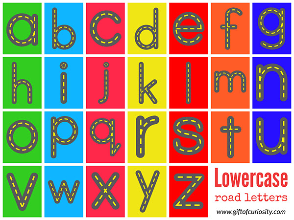 Free Road Letters printable for learning the alphabet - Gift of ...
