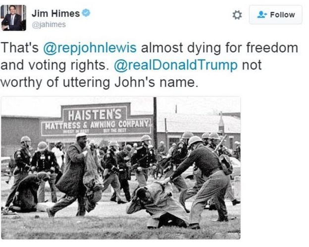 Tweet by Connecticut congressman Jim Hines