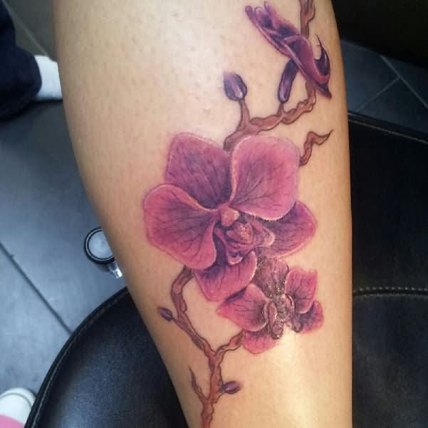 Amazing Orchid Tattoo On Sleeve