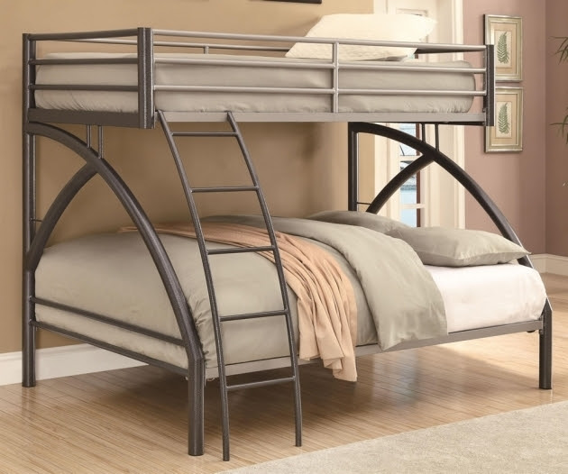 Contemporary Full Over Queen Bunk Bed With Stairs Metal Image 07  Bed \u0026 Headboards