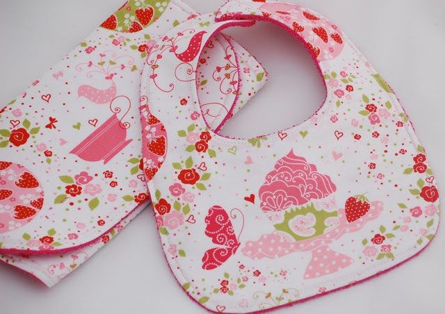 Baby Bib and Burp Cloth Set, Strawberry Tea Party, Michael Miller,  Fully Lined, Terry Backed, Snap Closure, Great Shower/New Baby Gift