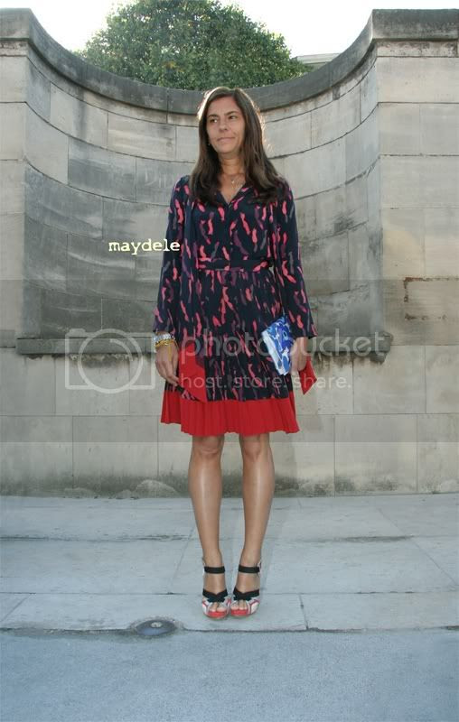 Gloria Baume Jill Stuart dress Balenciaga shoes