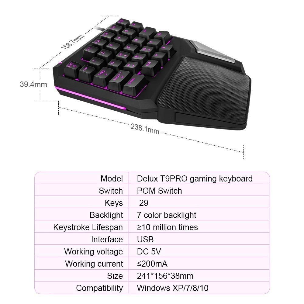 Delux T9 Pro Single Handed Gaming Keyboard 7 Color Backlit Programmabl Hitmint Com