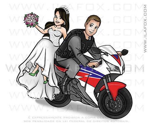 caricatura casal, caricatura noivos, caricatura na moto, moto honda CBR 1000RR