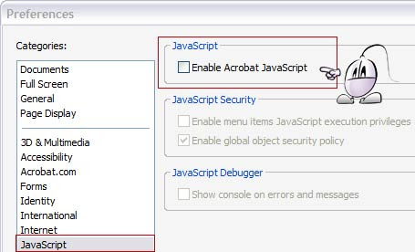 Desactivar javascript en Adobe Reader