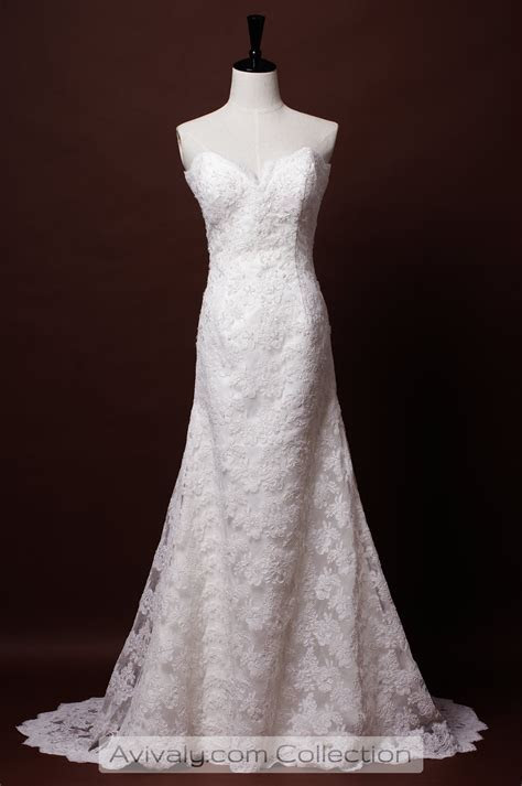Lydia   Strapless Sweetheart Corded Lace A line Dress