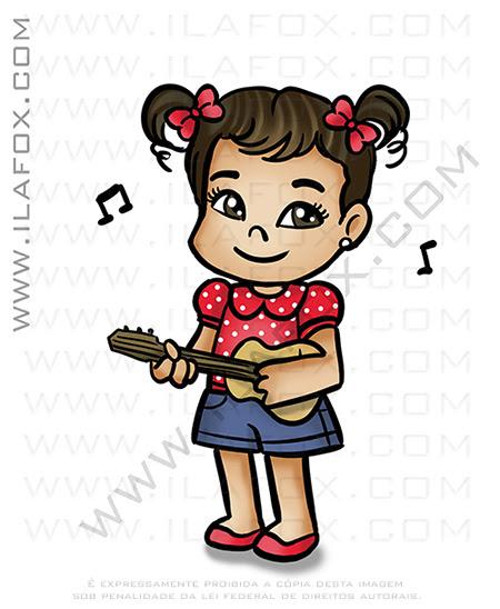 caricatura infantil, caricatura fofa, caricatura fofinha, caricatura tocando violão, caricatura personalizada, by ila fox