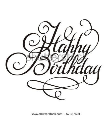 Happy Birthday Calligraphy Stock Images, Royalty Free