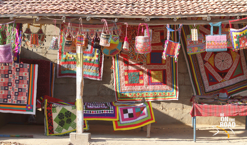 The colorful creations of Kutch as seen at the weaving village of Gandhi nu Gram, Gujarat, India