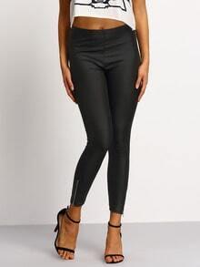 Black PU Leather Side Zipper Pants