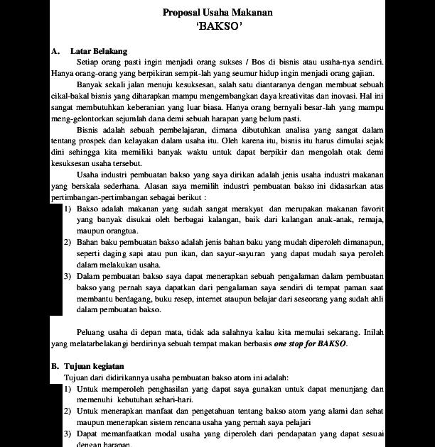 Proposal Usaha Makanan / Proposal Usaha Jenis Faktor Cara ...