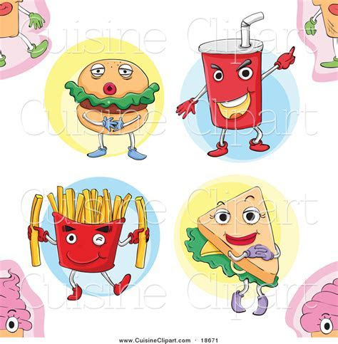 Cuisine Clipart of a Seamless Fast Food Pattern Background