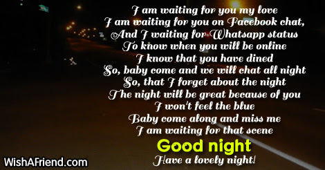 I Am Waiting For You My Love Good Night Poem For Her