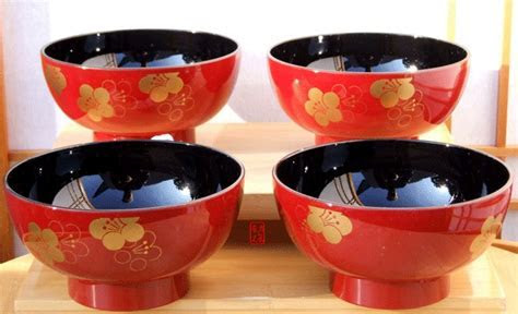 Miso & Salad bowl set Ume blossom on red lacquer