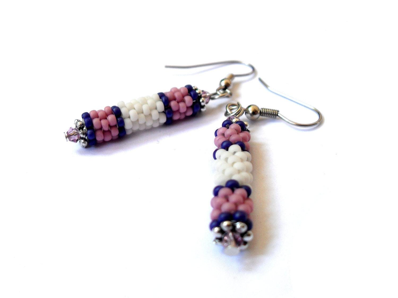 Pink white earrings, sweet tubular long peyote pieces.