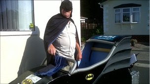 Mobility scooter converted into a Batmobile