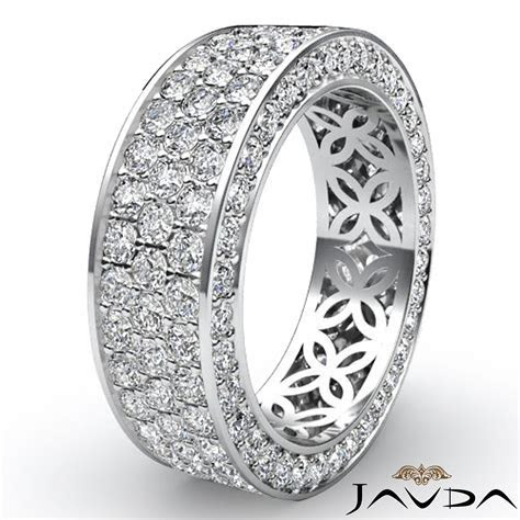 3 Row Women's Anniversary Band 14k White Gold Pave