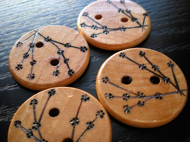 Cherry Blossom Wooden Buttons Large Woodburning - MaynardMillinery